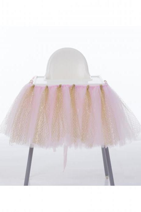 Tutu Tulle Table Skirts, High Chair Decor ,Baby Shower Decorations, for Boys Girls Party Set ,Birthday Party Supplies pink+gold