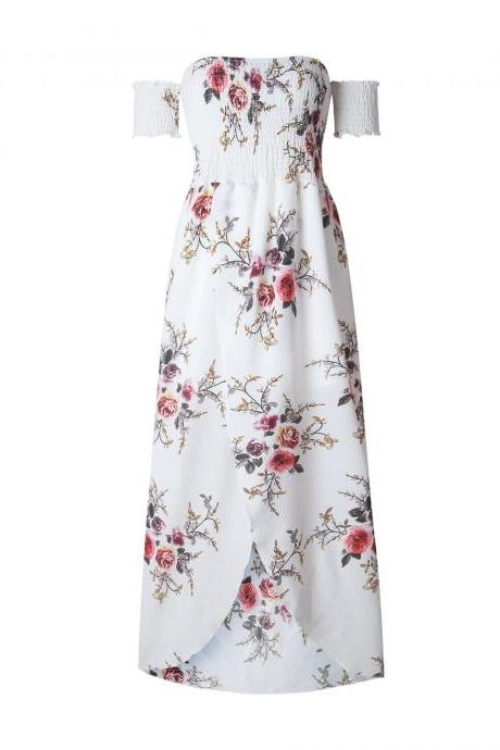 Off White Off-the-Shoulder Smocked Floral Print High-Low Maxi Summer Dress