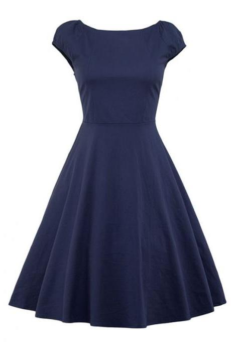 Vintage Hepburn Dress Cap Sleeve Women Summer Cotton Rockabilly Casual Holiday Party Dress navy blue