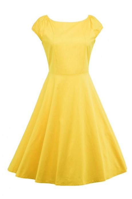 Vintage Hepburn Dress Cap Sleeve Women Summer Cotton Rockabilly Casual Holiday Party Dress yellow