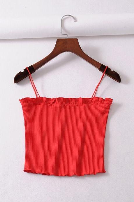 Red Ribbed Spaghetti Straps Straight-Across Crop Top Featuring Frilled Accent
