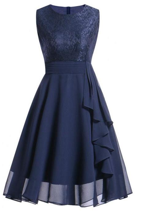 Vintage Ruffle Chiffon Dress Women Lace Patchwork A Line Evening Casual Party Dress navy blue