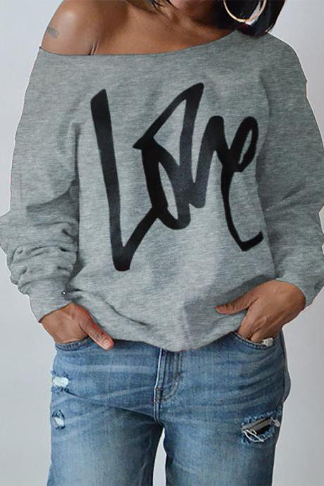 Women Hoodies Sweatshirt Spring Girls LOVE Letter Printed Long Sleeve Sexy Off The Shoulder Pullover gray