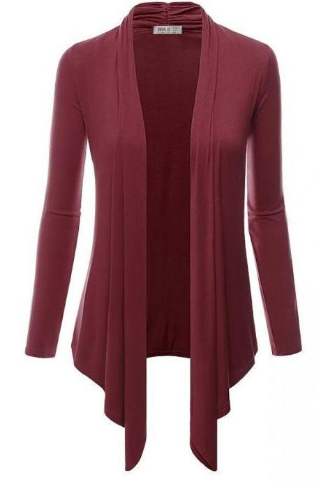 Women Cardigan Spring Long Sleeve Irregular Ladies Coat Slim Jacket Outerwear burgundy