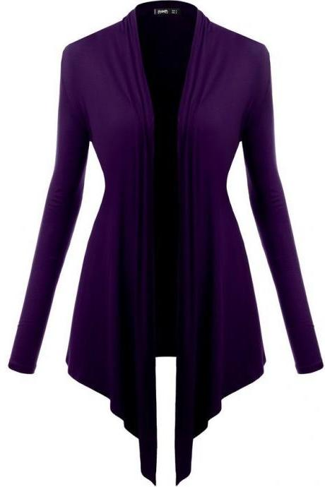 Women Cardigan Spring Long Sleeve Irregular Ladies Coat Slim Jacket Outerwear purple