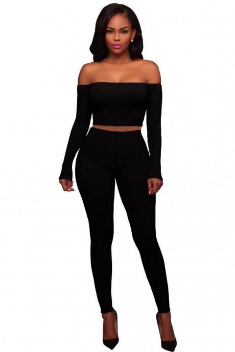 Sexy Two Piece Sets Women Off Shoulder Crop Top+Long Pants Suit Lady Leisure Tracksuit black