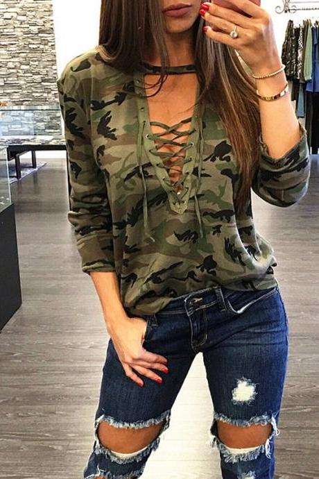 Women Camouflage T-Shirt Lace up Bandage V Neck Female Long Sleeve Lady Sexy Top Casual Tee army green