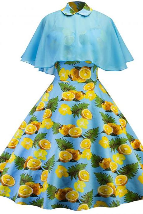 Vintage Cape Floral Dress Women Cloak Sleeve Two Piece Summer Formal Party Dress light blue