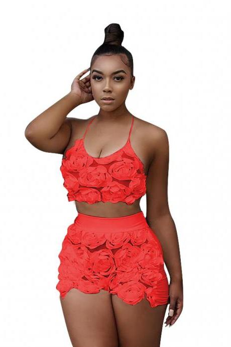 Sexy Two Piece Sets Women Floral Mesh Lace Halter Crop Top+Shorts Summer Outfits Clothing Set red