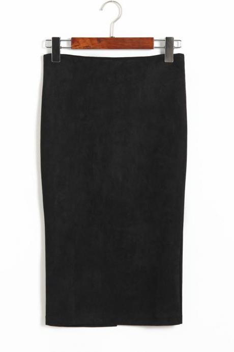 Spring Faux Suede Pencil Skirt High Waist Split Stretchy Bodycon Midi Skirt black
