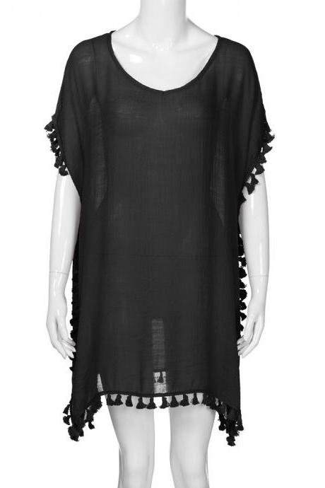 Women Tassels Bikini Cover Up Irregular See-Through Tunic Swimwear Summer Beach Dress black