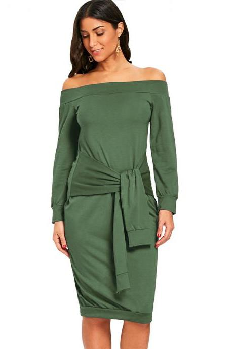 Sexy Slim Pencil Party Dress Off Shoulder Tie Belted Long Sleeve Bodycon Party Dress army green
