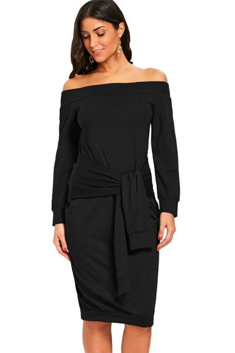 Sexy Slim Pencil Party Dress Off Shoulder Tie Belted Long Sleeve Bodycon Party Dress black