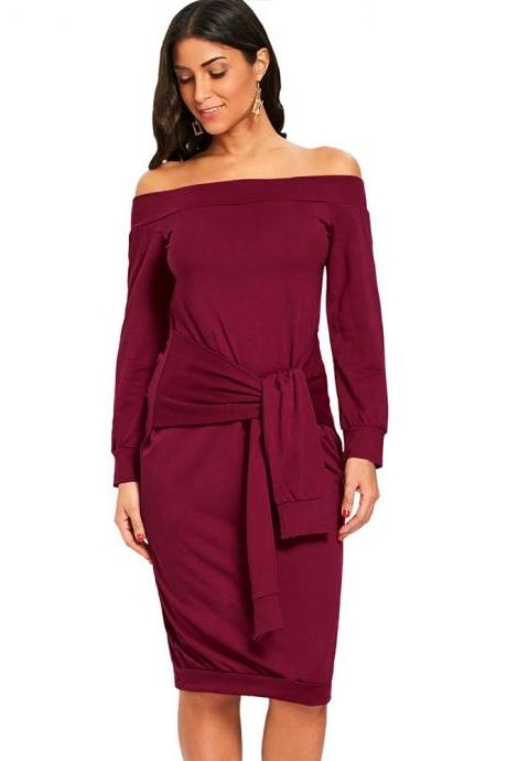 Sexy Slim Pencil Party Dress Off Shoulder Tie Belted Long Sleeve Bodycon Party Dress dark red