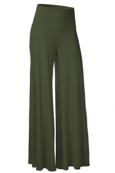 Women Slim Flare Pants High Waist Long Trousers Casual Office Work Wide Leg Trousers army green