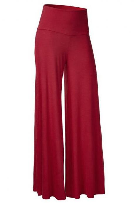 Women Slim Flare Pants High Waist Long Trousers Casual Office Work Wide Leg Trousers burgundy