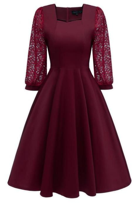 Vintage 50 60s Lace Dress Women Square Collar 3/4 Sleeve Rockabilly Evening Party Dress burgundy