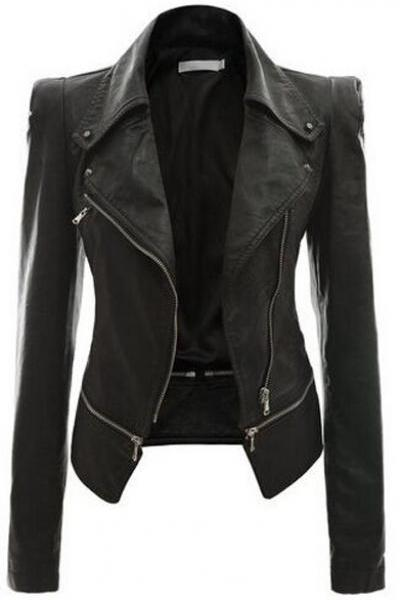 New Fashion Women Faux Leather Jackets Long Sleeve Lady Slim Short Bomber Coat Motorcycle Outerwear black