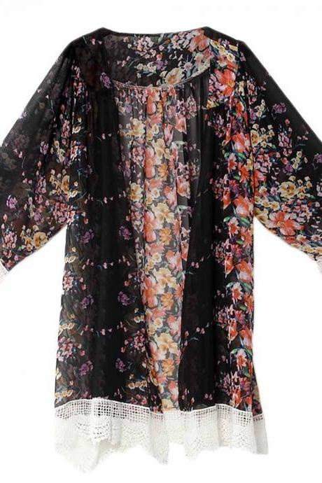 Fashion Floral Printed Chiffon Kimono Lace Patchwork Long Sleeve Women Cardigan Loose Coat Jacket black
