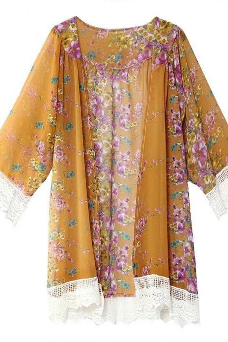 Fashion Floral Printed Chiffon Kimono Lace Patchwork Long Sleeve Women Cardigan Loose Coat Jacket yellow