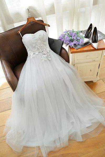 A-Line Tulle Long Sweetheart Party Dresses, Lace Prom Gowns, Wedding Party Dress