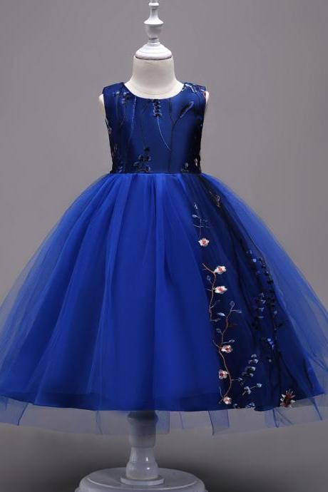 Embroidery Flower Girl Dress Sleeveless Princess Formal Prom First Communion Party Gown Kids Children Clothes royal blue