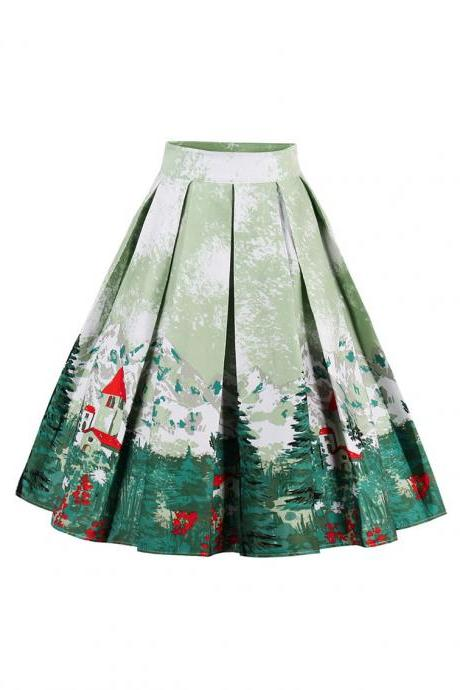 Retro Floral Printed Summer Skirts Womens High Waist Vintage A-Line Midi Skater Skirt 1#