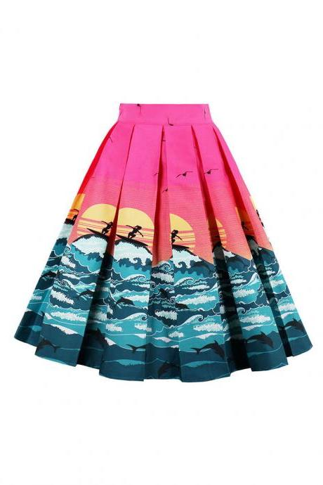 Retro Floral Printed Summer Skirts Womens High Waist Vintage A-Line Midi Skater Skirt 15#