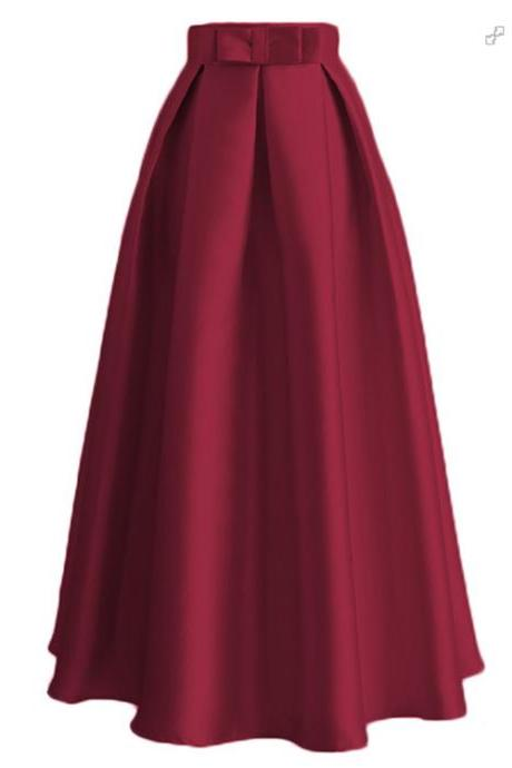 Plain Muslim Women Casual Maxi Pleated Skirts High Waist Ladies A Line Long Skater Skirt burgundy
