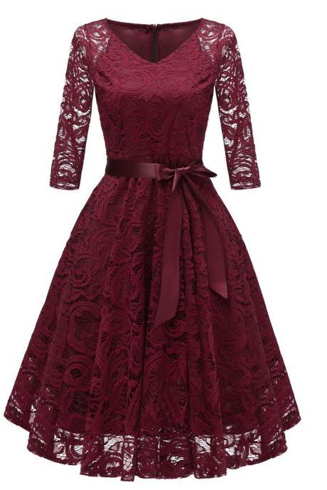 Vintage V Neck Belted Floral Lace Dress 3/4 Sleeve Swing A Line Formal Party Dress burgundy