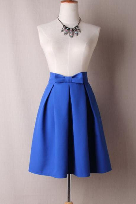 Women Midi Skirt High Waist Pleated Knee Length Vintage A Line Bow Zipper Skater Skirt blue