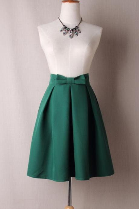 Women Midi Skirt High Waist Pleated Knee Length Vintage A Line Bow Zipper Skater Skirt green