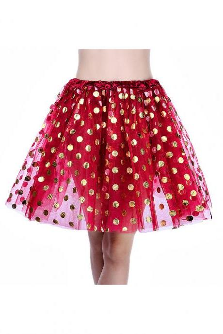 Adult Tutu Skirt Sequin Gilding Polka Dot 3 Layers Party Dance Ballet Pettiskirt Tulle Girl Mini Skirt burgundy+gold