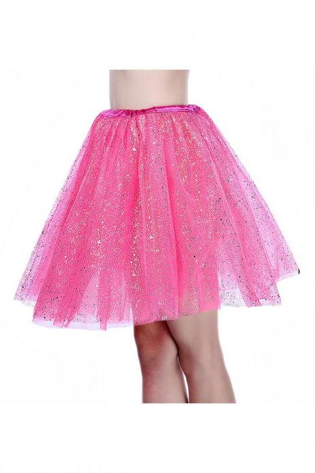 Adult Tutu Skirt Sequin Gilding Polka Dot 3 Layers Party Dance Ballet Pettiskirt Tulle Girl Mini Skirt hot pink