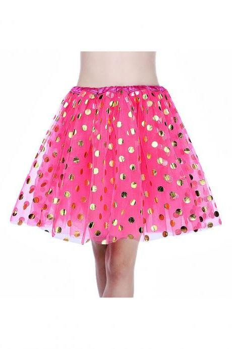 Adult Tutu Skirt Sequin Gilding Polka Dot 3 Layers Party Dance Ballet Pettiskirt Tulle Girl Mini Skirt hot pink+gold