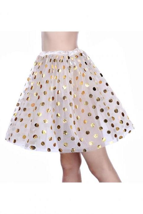Adult Tutu Skirt Sequin Gilding Polka Dot 3 Layers Party Dance Ballet Pettiskirt Tulle Girl Mini Skirt off white+gold