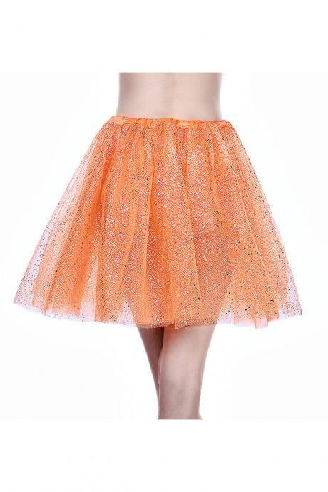 Adult Tutu Skirt Sequin Gilding Polka Dot 3 Layers Party Dance Ballet Pettiskirt Tulle Girl Mini Skirt orange