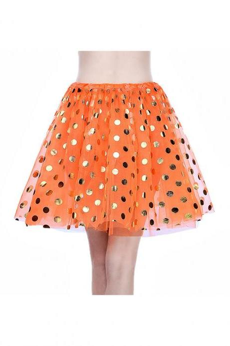 Adult Tutu Skirt Sequin Gilding Polka Dot 3 Layers Party Dance Ballet Pettiskirt Tulle Girl Mini Skirt orange+gold