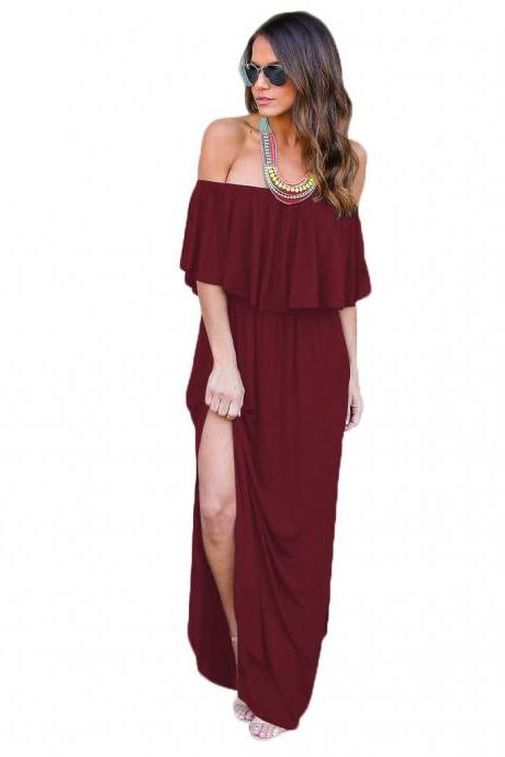Burgundy Off-the-Shoulder Ruffle Casual Summer Maxi Dress with Side Pockets and Side Slits