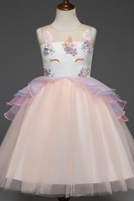 Fancy Kids Unicorn Dress Girls Embroidery Flower Baby Girl Princess Party Costumes Gowns salmon