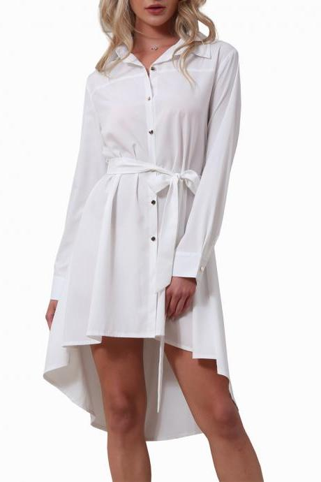 White Collared Neck Long Cuffed Sleeves Button Down High Low Shirt Dress Featuring Bow Accent Belt