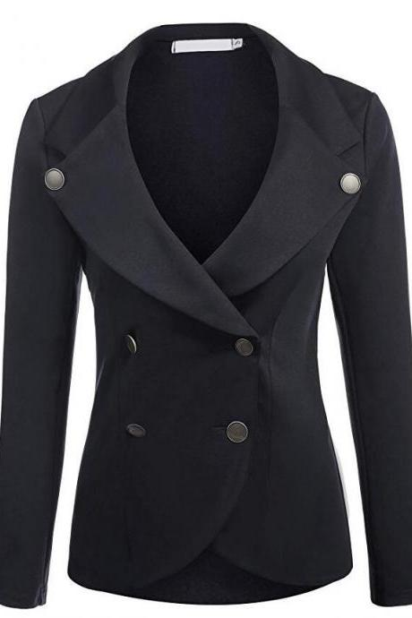 Women Slim Blazer Coat Spring Autumn Casual Long Sleeve Double-Breasted OL Work Suit Jacket black
