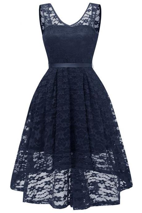Vintage High Low Floral Lace Dress V Neck Backless Belted Women A Line Cocktail Party Dress navy blue