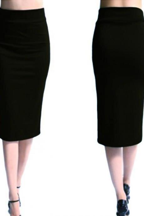 Black High Rise Knee Length Pencil Skirt