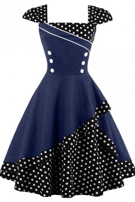 Summer Polka Dot Dress Women Cap Sleeve Hepburn 50s Vintage Button A Line Party Dress navy blue