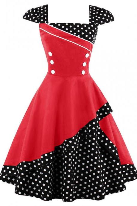 Summer Polka Dot Dress Women Cap Sleeve Hepburn 50s Vintage Button A Line Party Dress red