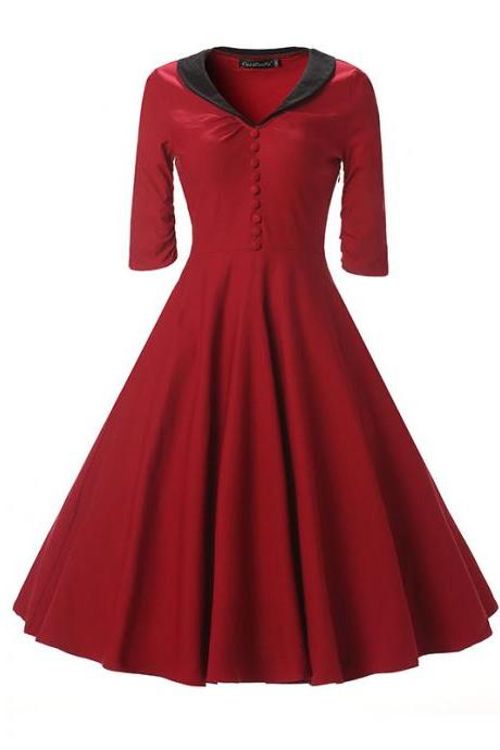 Women Rockabilly Dress Bottons Hepburn 50s 60s Half Sleeve Tunic V Neck A Line Party Dress crimson