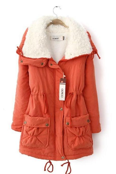 Winter Women Thick Long Fleece Coat Warm Turn Down Collar Fashion Parka Jackets Female Outerwear orange