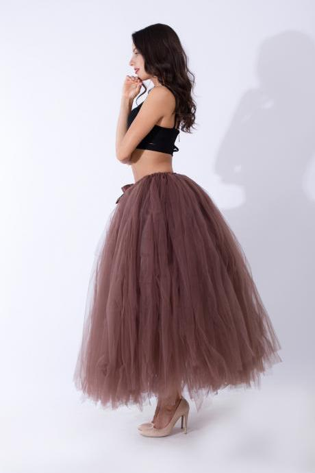 Puffty Women Tulle Tutu Skirt High Waist Lace up Jupe Female Prom Party Bridesmaid Skirts coffee