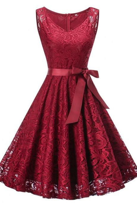 Vintage Floral Lace Dress Women V Neck Sleeveless Cocktail Evening Party Swing Dress burgundy
